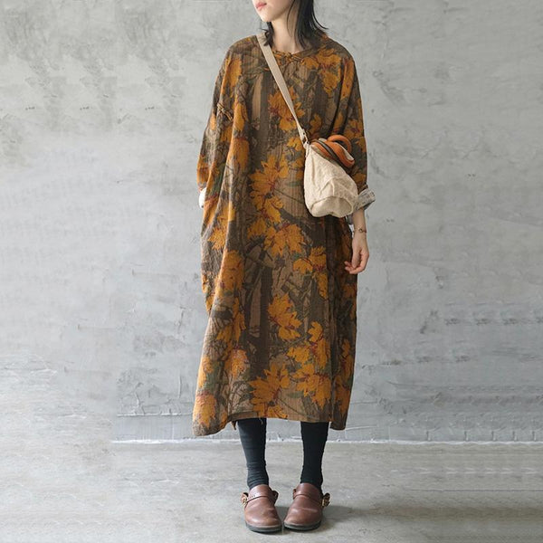 Spring Ethnic Style Printed Linen Cotton Dress April 2021 New-Arrival One Size Yellow