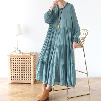 Spring Loose Casual Long Sleeve Chiffon Dress Green 2019 April New One Size Green