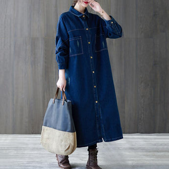 Spring Loose Casual Over-the-knee Single-breasted Denim Coat Feb 2021 New-Arrival M Blue