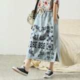 Spring Retro Embroidery Loose Denim Skirt May 2020-New Arrival