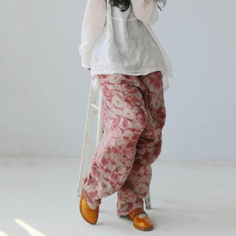 Spring Summer Loose Printing Retro Linen Pants Jan 2021-New Arrival One Size Red