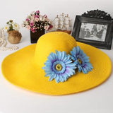 Spring Summer Women Straw Beach Hat Sunhat Hat 56cm-58cm Yellow