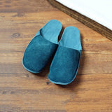 Suede Leather Slippers 35 Blue