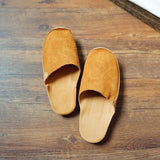 Suede Leather Slippers 35 Yellow