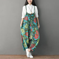 Summer Casual Floral Pockets Women Green Jumpsuits Jumpsuits One size Dark green