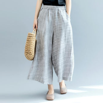 Summer Linen Wide-Leg Pants March-2020-New Arrival L Gray