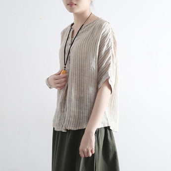Summer Loose Cotton Linen Striped Shirt March 2021 New-Arrival One Size Beige