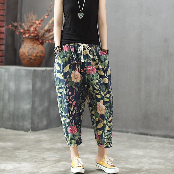 Summer Loose Elastic Waist Flower Printed Pants May 2021 New-Arrival