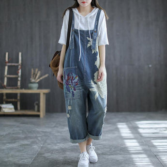Summer Retro Flower Printed Loose Denim Overalls May 2021 New-Arrival