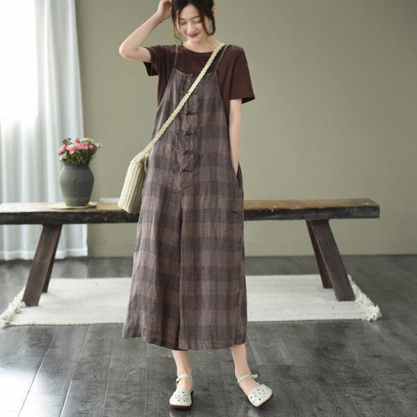 Summer Retro Loose Buckle Wide-Leg Jumpsuit June 2020-New Arrival One Size Coffee