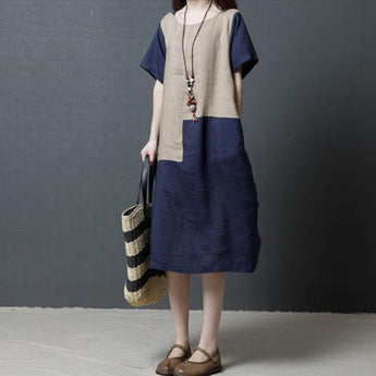 Summer Retro Short-sleeved Mid-length Dress April 2021 New-Arrival M Blue