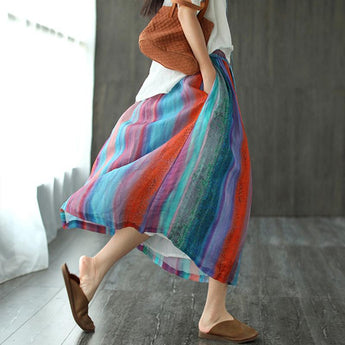 Summer Retro Stripe Printed A-line Skirt May 2021 New-Arrival