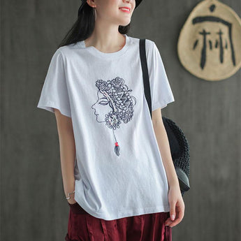 Summer Sequin Embroidery Loose Casual T-shirt Jan 2021-New Arrival One Size White