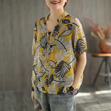 Summer V-neck Middle-sleeve Retro Printed Floral Shirt Feb 2021 New-Arrival