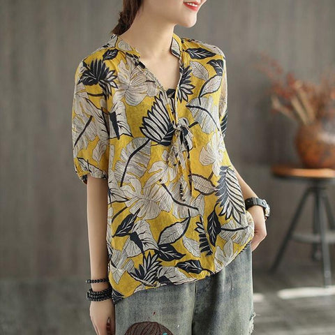 Summer V-neck Middle-sleeve Retro Printed Floral Shirt Feb 2021 New-Arrival One Size Yellow