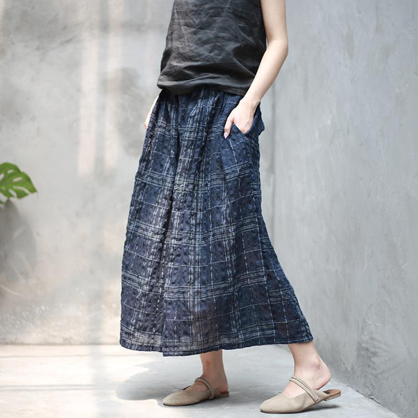 Thin Cotton And Linen Skirt Literary Retro Plaid OCT