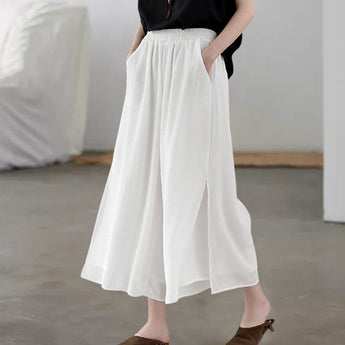 Tiered Chiffon Pants For Summer Outfits May 2020-New Arrival One Size White