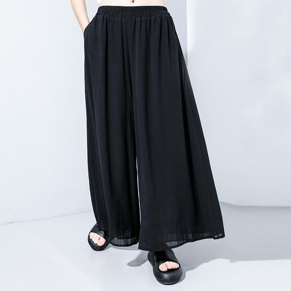 Tight Waist Personality Solid Color Wide-leg Pants September 2020 new arrival