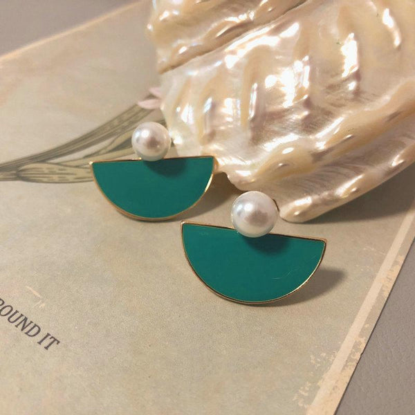 Vintage Blue-green Drip Glaze Pearl Earrings ACCESSORIES Vintage Blue