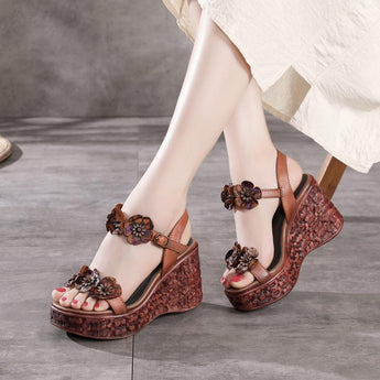 Vintage Leather Flowers Women's Shoes September September 2020 new arrival 35 coffee