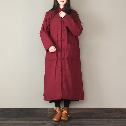 Vintage Stand Collar Buckle Quilted Coat Winter Coat