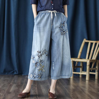 Washed Blue Pants Autumn September 2020 new arrival
