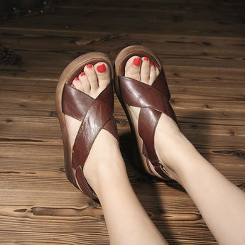 Wedge Velcro Retro Fashion Non-Slip Leather Sandals July 2020-New Arrival Coffee 35