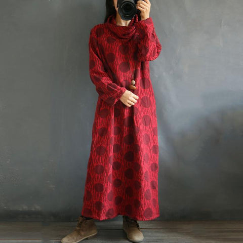 Winter High Collar Cotton And Linen Dot Loose Dress Winter Dress