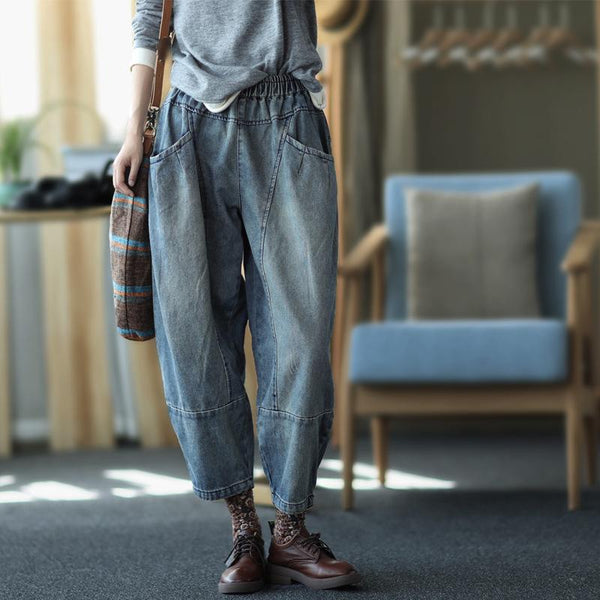Winter Plus Retro Loose Denim Harem Pants Nov 2020-New Arrival L Blue