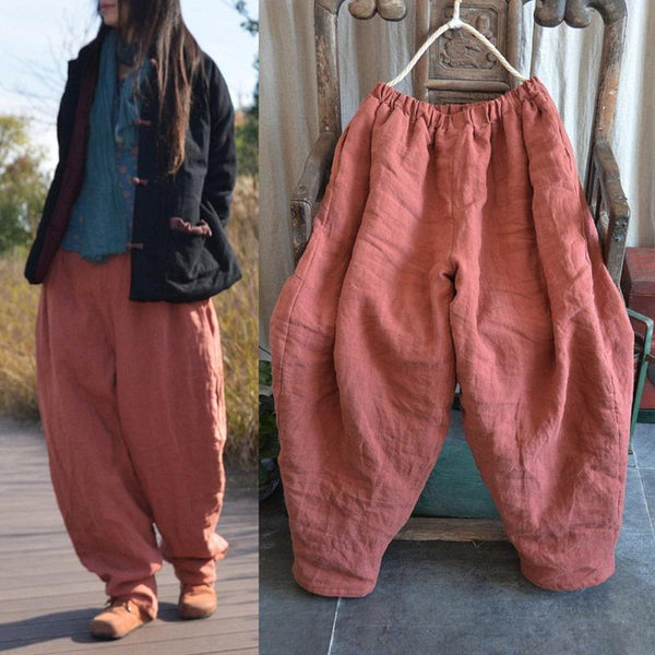 Winter Quilted Loose Retro Cotton Linen Pants Jan 2021-New Arrival
