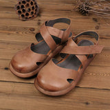Women Closed Toe Platform Casual Velcro Sandals 2019 Jun New 35 Brown