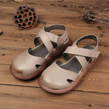 Women Closed Toe Platform Casual Velcro Sandals 2019 Jun New 35 Khaki