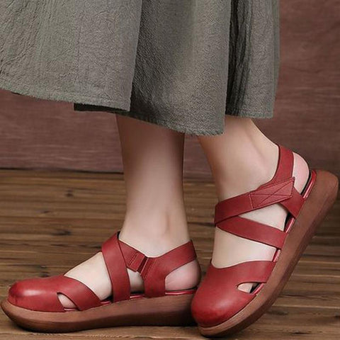 Women Closed Toe Platform Casual Velcro Sandals 2019 Jun New 35 Red