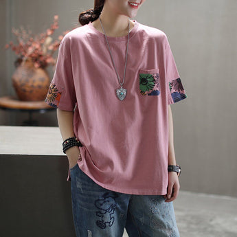 Women Crew Neck Prints Loose Casual T-Shirt April 2020-New Arrival One Size Pink