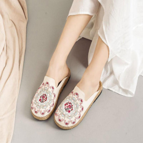 Women Embroidered Casual Flats Home Slippers 2019 Jun New 35 Beige