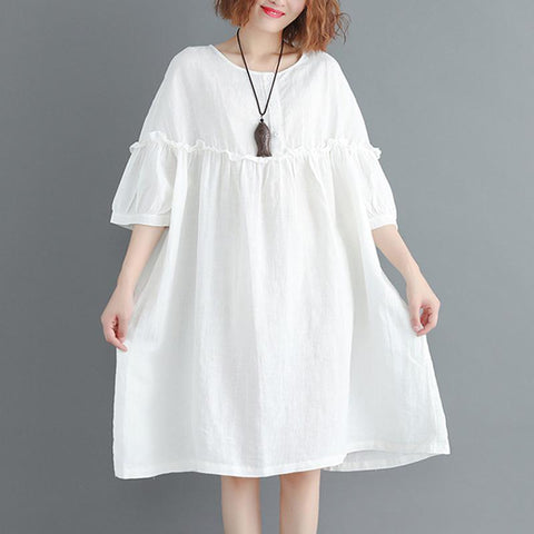 Women Falbala Gathered Sleeve Loose Casual Dress 2019 May New One Size White