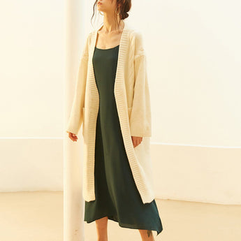 Women Knitted Mid-Length Solid Cardigan 2020 New January One Size Beige