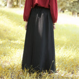 Women Literature Ankle-Length Solid Black Wide Leg Chiffon Pants pants