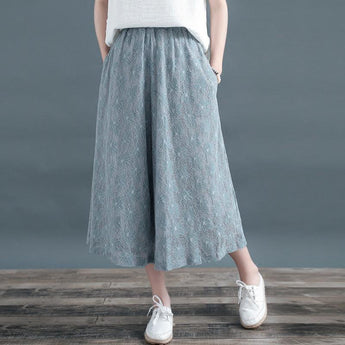 Women Loose Lace Wide-leg Pants March 2021 New-Arrival One Size Blue