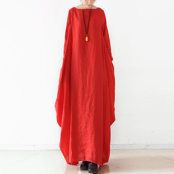 Women Solid Cocoon Casual Loose Linen Maxi Long Sleeve Dress 2019 May New One Size Red