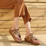 Women Summer Casual Leather Shoes Beige Portable Slippers Shoes