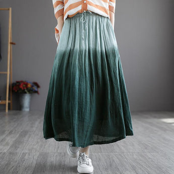Women Summer Elastic Plus Size Skirt May 2021 New-Arrival Green