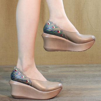 Women Wedge Peacock Tail Print Sewing Casual Shoes 2019 May New 35 Khaki