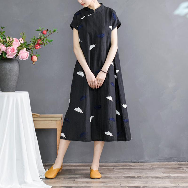 Women's Chinese style Embroidery Dress April 2021 New-Arrival One Size Black