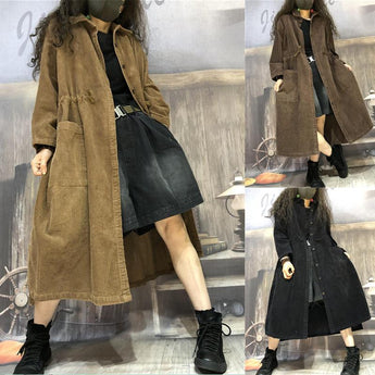 Women's Corduroy Mid-length Trench Coat For Autumn And Winter OCT BROWN