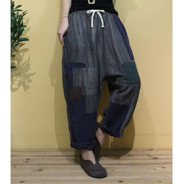 Women's Cotton Linen Color Matching Loose Pants July 2020-New Arrival One Size Gray
