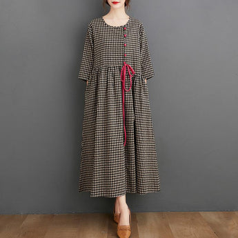Women's Cotton Linen Loose Plaid Dress April 2021 New-Arrival