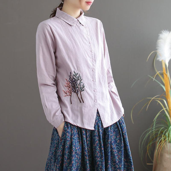 Women's Diagonal Long Sleeve Cotton Shirt Autumn September 2020 new arrival PINK