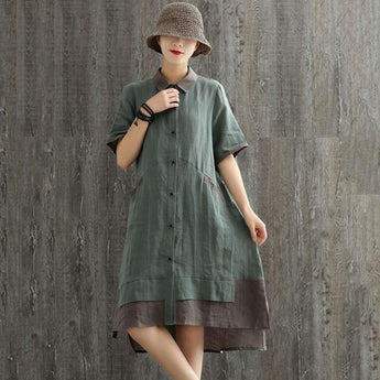 Women's Linen Loose Long-sleeved Dress Shirt April 2021 New-Arrival One Size Purple Long-sleeve