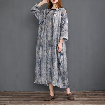 Women's Nordic Totem Printed Linen Robe Dress April 2021 New-Arrival One Size Navy
